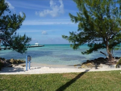 Snorkel and swim steps from our condo! Water is shallow, calm and safe for kids.