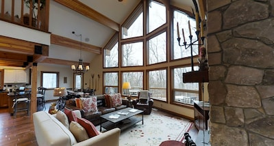 Great Room with large prow windows