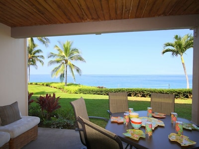 Relax, dine, whale watch on your large covered lanai