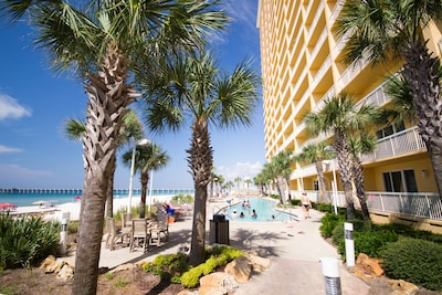 This 1BD condo is on the 14th floor overlooking the pools and beach!