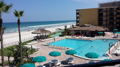 View of pool from the balcony