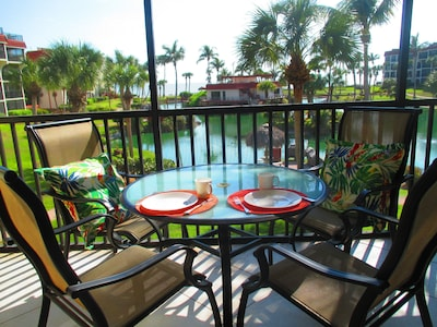 Lanai with view of lagoon and Gulf