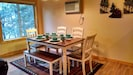 The dining table is perfect for a couple/family dinner!