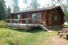 Back/lake side deck. This photo shows the new stain applied 2013.