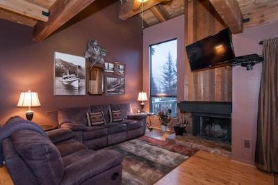 Living Area. Wood burning fireplace.