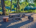 Enjoy a campfire, s'mores and a great view of the river!