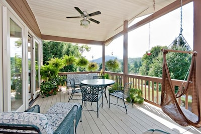 Covered Deck to enjoy the views of the lake and mountains.