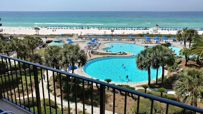 View of Large Lagoon Pool/Beach behind Tower 1