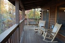 A great view of Mt. LeConte from the hot tub or rocking chairs and porch swing