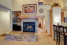 Fireplace and 40 inch flatscreen TV in living area