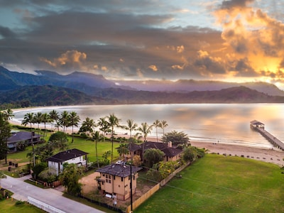The Idyllic location of the Hanalei Beach House