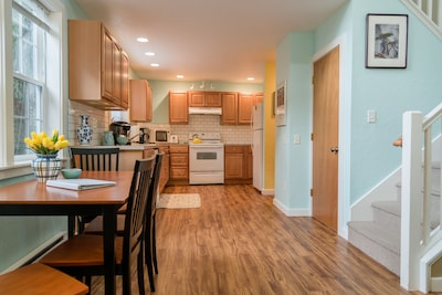 We have a nice roomy kitchen with everything we could think of for cooking.