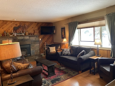 living room with natural gas fireplace