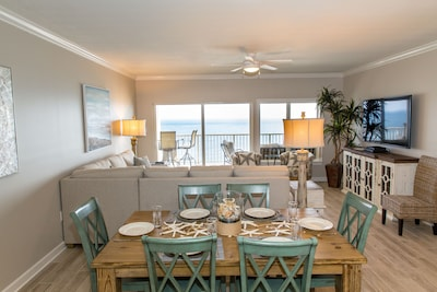 View from kitchen gives you a open view to water and beach
