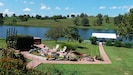 Fire Pit and Boat Dock with beautiful views and flower gardens