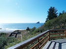 Panoramic deck overlooking creek, old hatchery ponds and Burnt Hill Beach