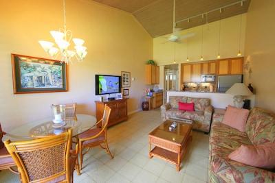 Living Area & Kitchen Napili Shores Resort F-250