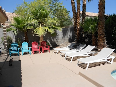 Plenty of Loungers and chairs to enjoy the pool