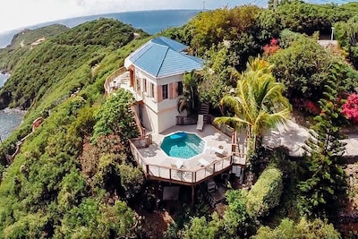 Aerial view with pool and deck