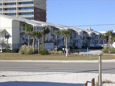 complex view from beach, less than minute walk to beach, perfect location