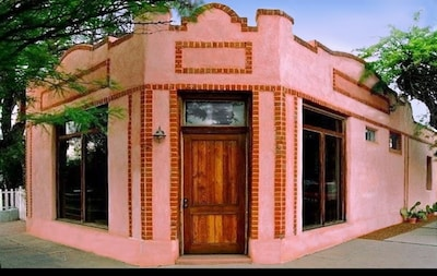 Spanish Revival Bakery Storefront was preserved during the conversion.