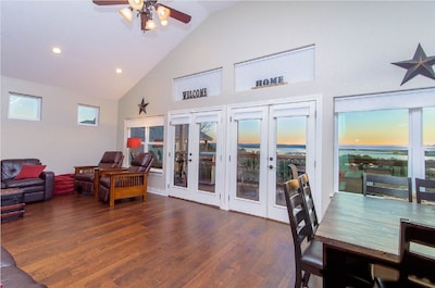 Upstairs living area with a beautiful view of the lake