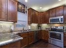 Kitchen is upstairs and has everything you need