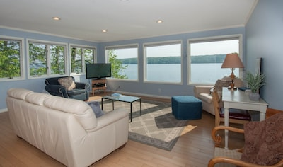 The living room with amazing lake views