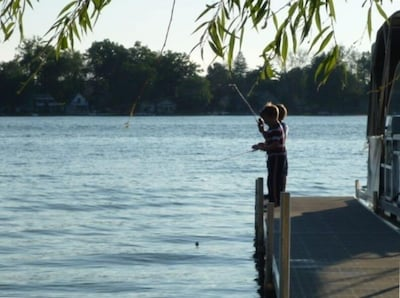 Bass fishing from the dock.