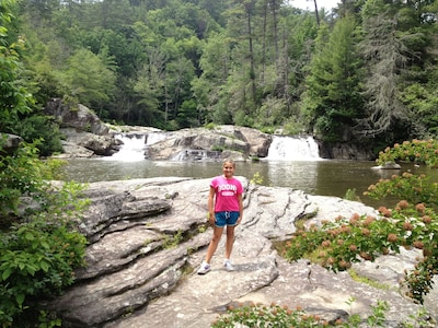 My daughter at linville falls