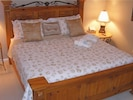 Master King Bed with soft high thread count linens