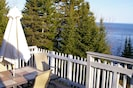 2 level deck, patio table, seats 6, plus extra seating on other half of deck