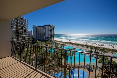 View from unit 611 balcony. Sit here and enjoy the pool, beach, and gulf view!