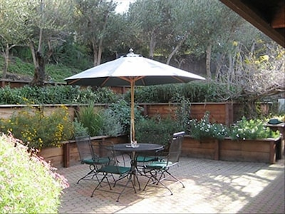 Back patio includes BBQ and terraced gardens