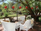 Outside front patio with wicker, a picnic table, overlooks several bird feeders