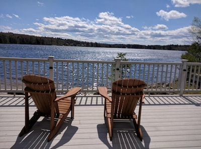Spectacular lake views from large deck.