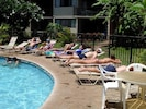 Poolside at our heated pool