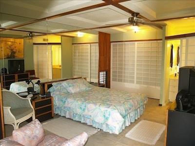 Big bdrm. 5 star king bed,  AC,  tile flr. flat LED TV: Style & comfort