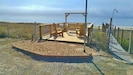 Beachfront deck, wood adirondacks, swing, shower, private boardwalk!