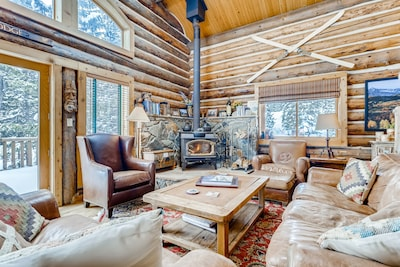 Gorgeous living room with great views and woodstove