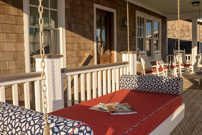 hanging bed on the front porch
