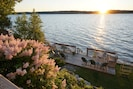 Mid-June, lilacs in bloom, lower deck, sunset.