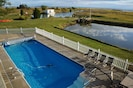 View of in-ground pool from Main House 2nd floor deck