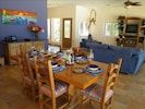 Enjoy the colorful decor in the dining area and living room!