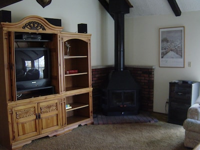 Entertainment Center, Wood Burning Stove, Stereo System