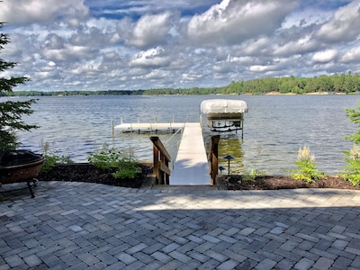 Lake view from lower patio. Fire bowl and seating for 8.