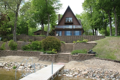 View of the cabin from the lake - nice sandy beach!