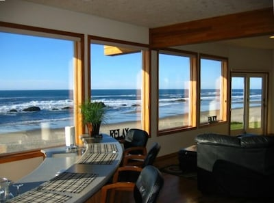 Enjoy refreshments and the view from the sunken wet bar.