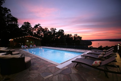 Sunset pool with color changing lights.