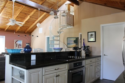 Interior Kitchen and Spiral Stairs
